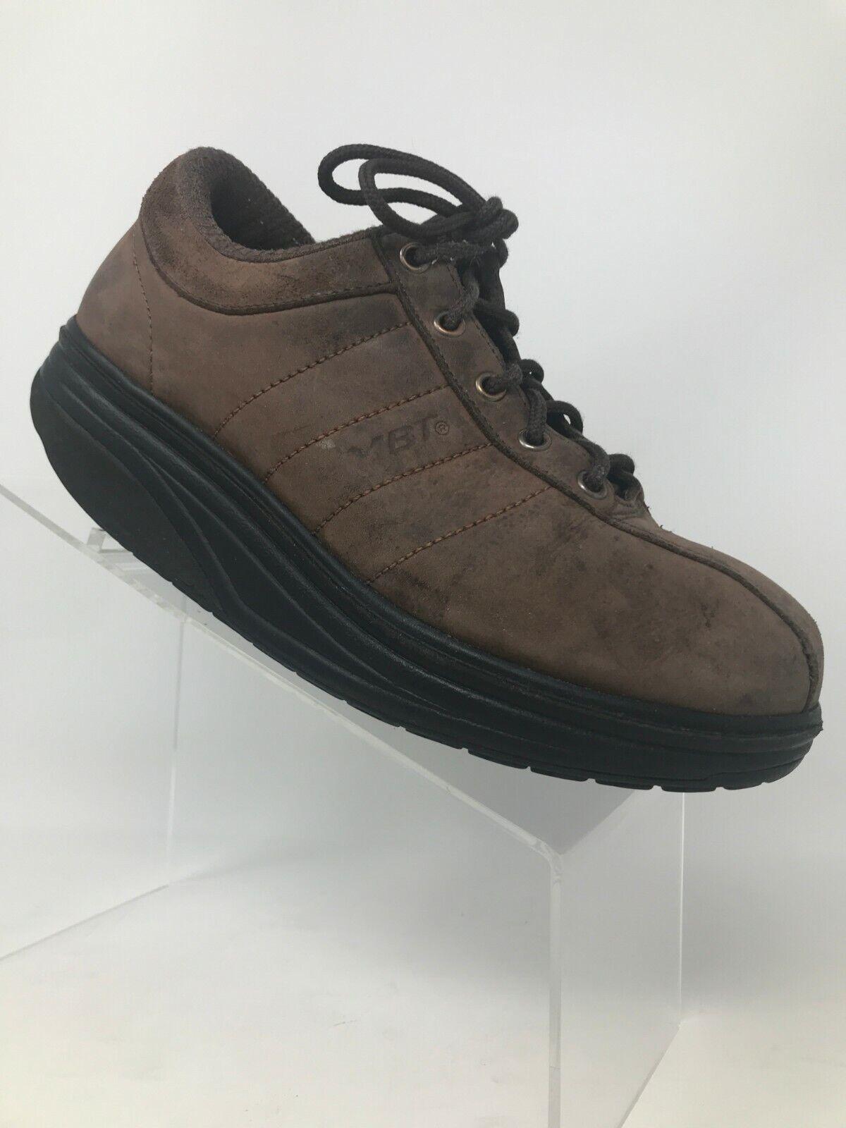 MBT Shoes Lace Up Bicycle Toe Brown Leather Walking Toning Rocking Men US 7-7.5