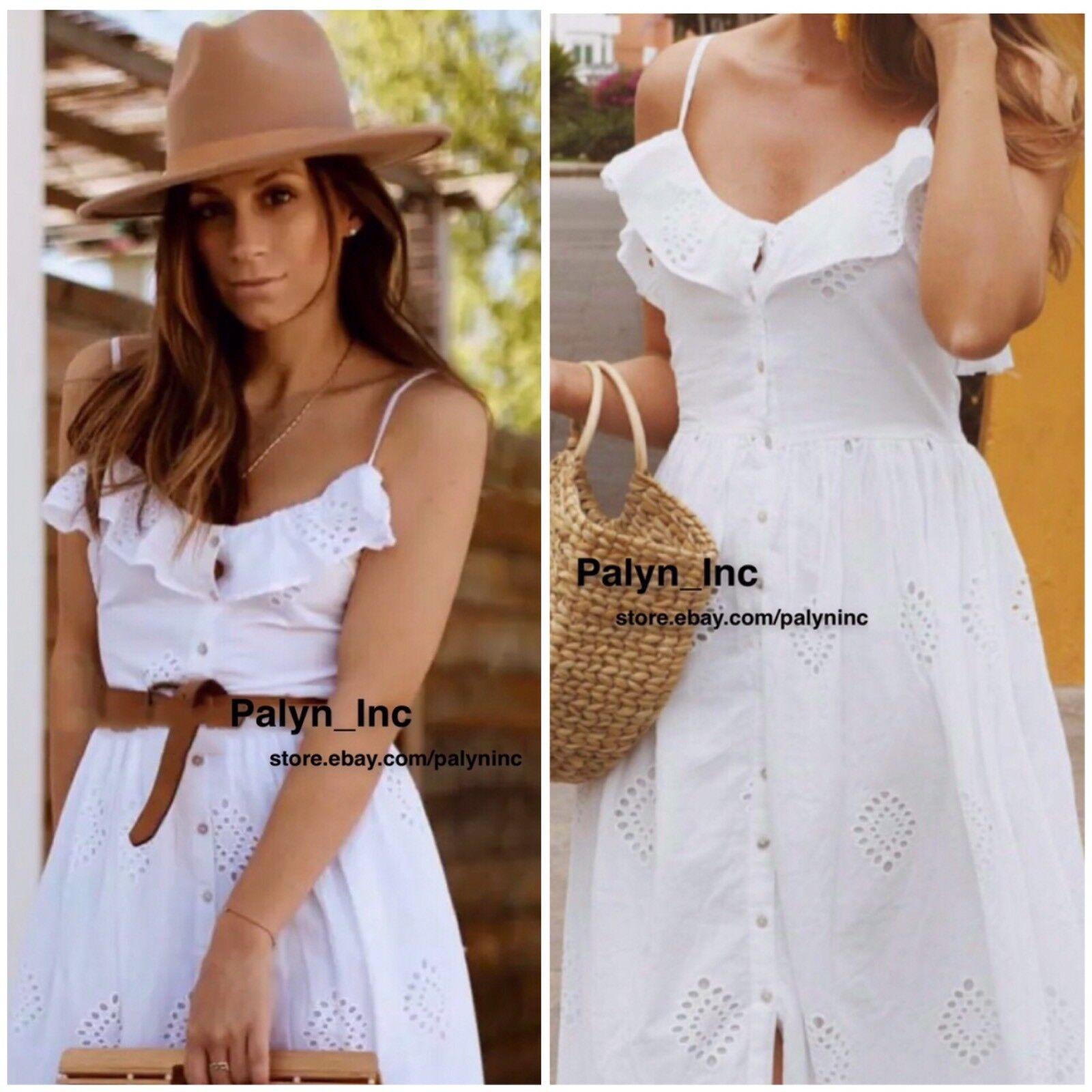 Raro _ Nwt Zara Zara Zara Ss18 Bianco con Foro Abito con Ricamo 3136 125 _ Xs S M L a47763