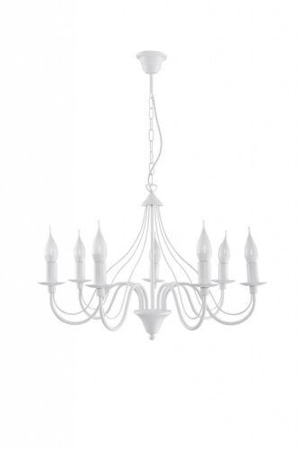 Rustikaler Kronleuchter Weiß Ø60cm Decke Landhauslampe Lampe Hängeleuchte innen