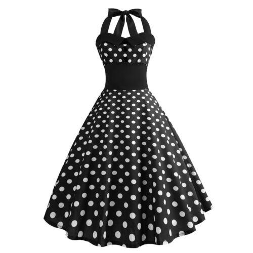Women 50S Vintage Halter Neck Pinup Swing Evening Party Rockabilly Retro Dress