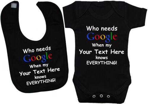 Google Personalised Babygrow Bodysuit Romper Vest /& Feeding Bib 0-24mths Gift