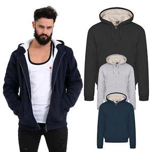 f40a7a4f910e Men s Fur Lined Sherpa Fleece Winter Plain Hoodie Jacket Thick ...