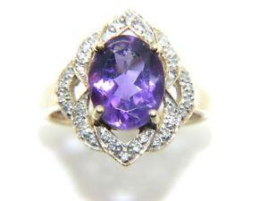 donna-da-9ct-9-carati-oro-giallo-con-Diamante-amp-Anello-di-ametista-misura-UK