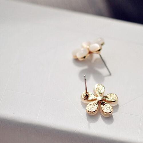1Pair Elegant Women Silver Plated Cat Eye Stone Flower Ear Stud Earrings Jewelry