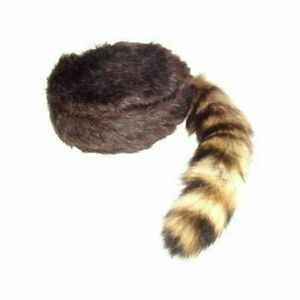Racoon Hat Adult Youth Davy Crocket Daniel Boon Coonskin Cap Coon Tail Winter
