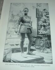 1903 Antique Print KING ARTHUR STATUE MAXIMILIAN'S TOMB South Tyrol Italy