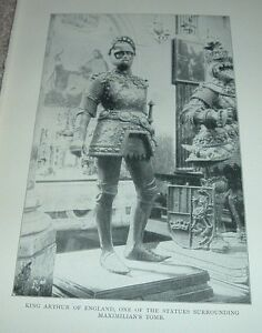 1903-Antique-Print-KING-ARTHUR-STATUE-MAXIMILIAN-039-S-TOMB-South-Tyrol-Italy
