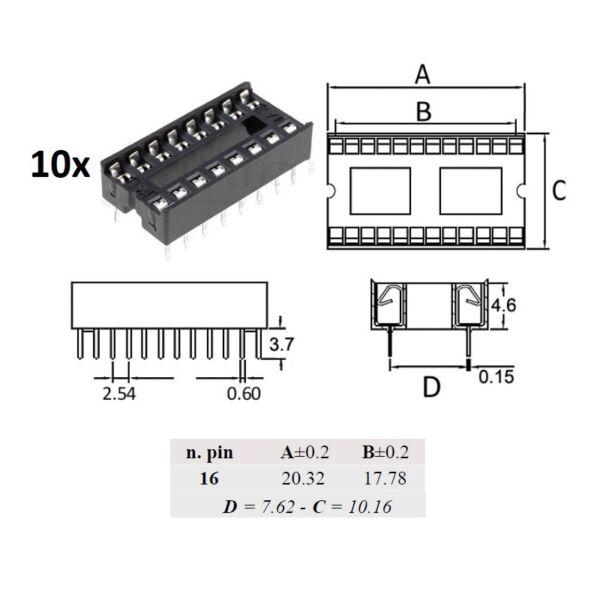 10x Ninigi Dip16, Zoccolo Per Integrati 16 Pin En Digestion Helping