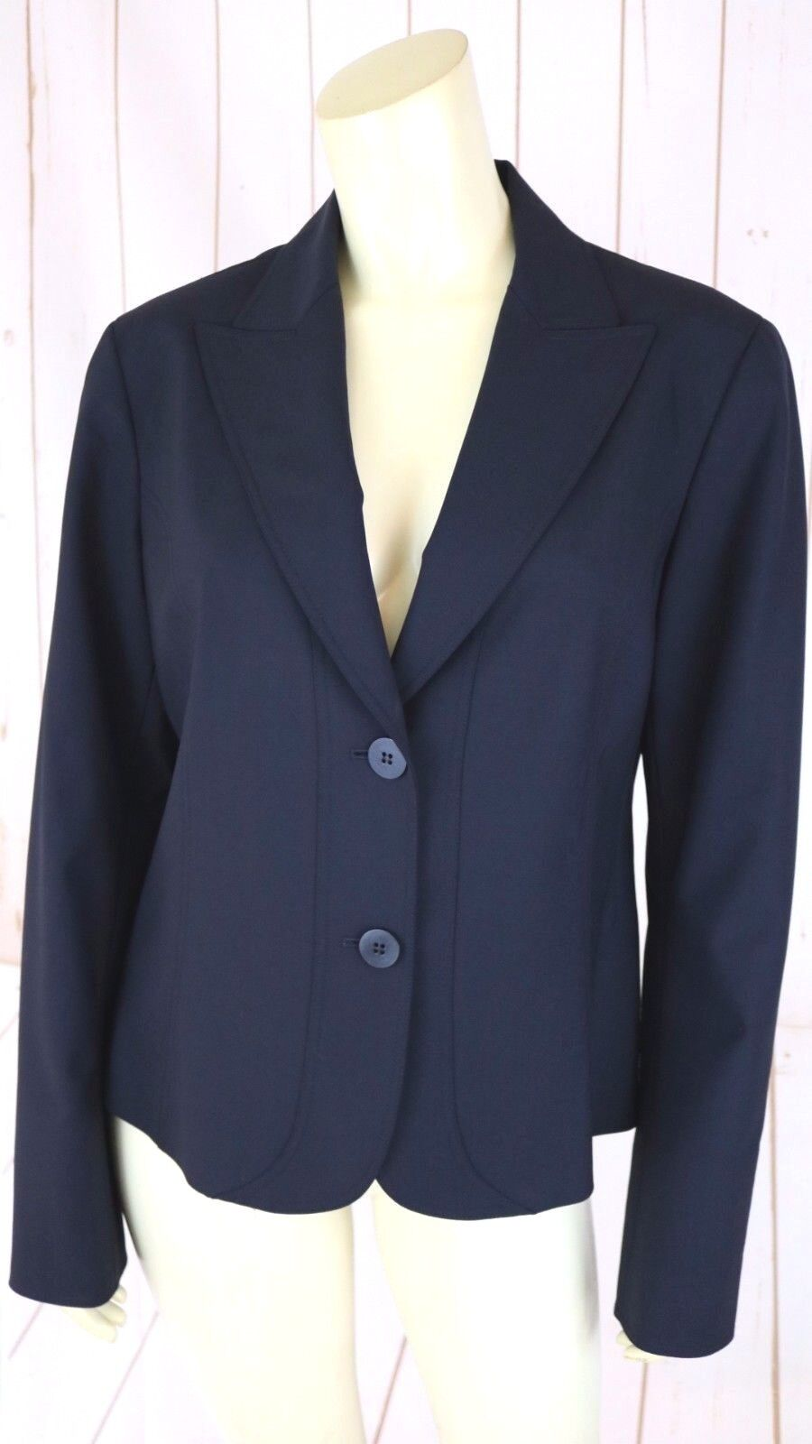 Lafayette 148 Blazer 8 Dark Navy Thin Wool Gabardine Elastane Slightly Fitted