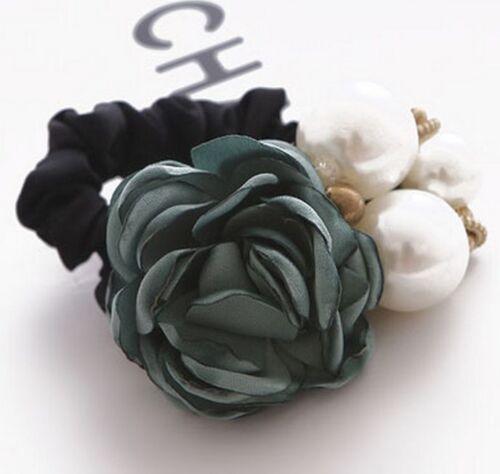 Women Beauty Satin Ribbon Rose Flower Pearls Hairband Ponytail Holder Hair Band