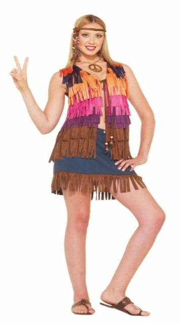 ADULT 60'S HIPPIE LOVE CHILD FRINGED VEST COSTUME ACCESSORY FM64062
