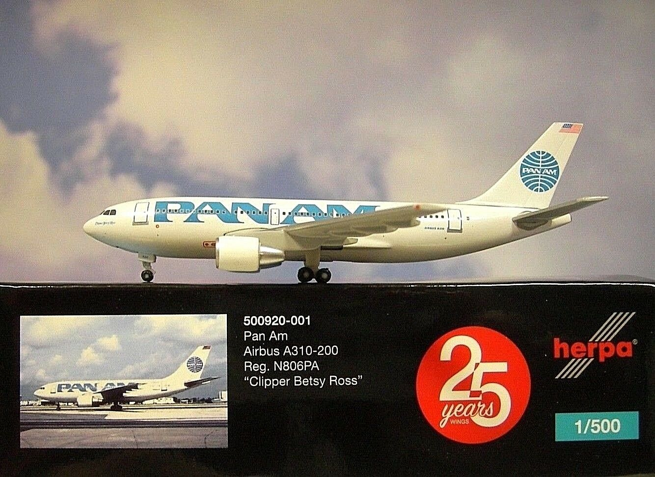 Herpa Wings 1 500 airbus airbus airbus a310-200 pan am n806pa 500920-001 modellairport 500 ca32db