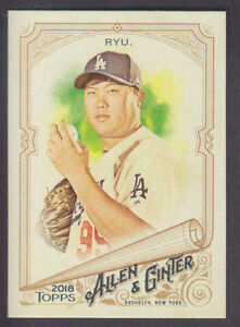 Topps-Allen-amp-Ginter-2018-Base-SP-303-Hyun-Jin-Ryu-Los-Angeles-Dodgers