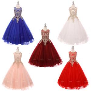 Flower-Girl-Dress-Pageant-Wedding-Birthday-Dance-Formal-Party-Bridesmaid-Recital