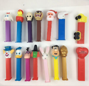 Pez Lot Of 15 Taz, Santa, Witch, Fred and Dino, Donald D.Skull, Heart, C-3PO