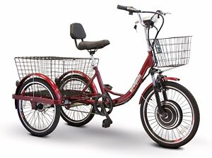 Electric-Trike-EW-29-Goes-up-to-15-mph-Headlight-2-Baskets-400-lb-Capacity