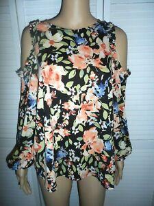 Pretty-LC-Lauren-Conrad-size-S-black-floral-cold-shoulder-long-sleeve-blouse-NWT