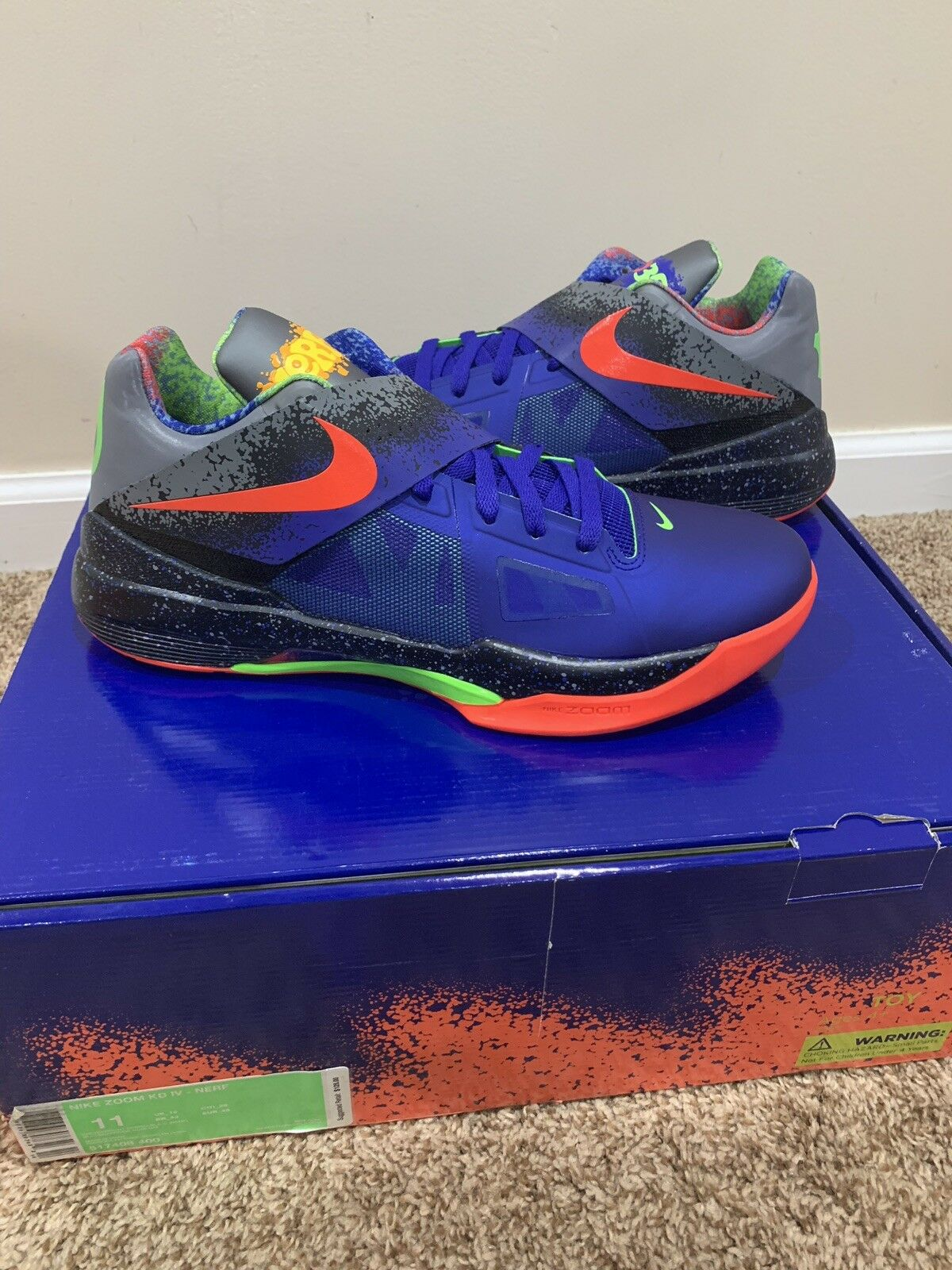 NIKE KD IV 4 NERF 517408-400 DS Size 11 Limited Off White Yeezy Quickstrike