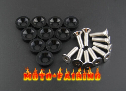 10PCS Black Fender Bumper Headlight Tag Hood Trunk Washer Kit 10mm Bolt Set New