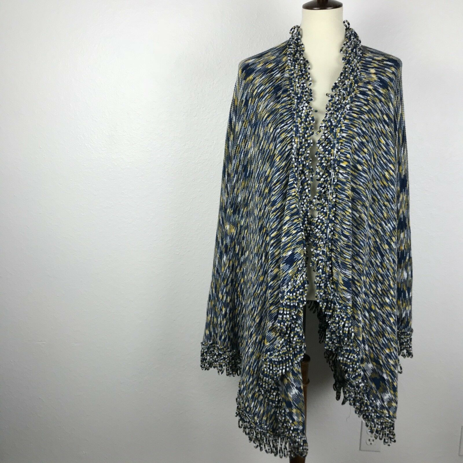 Anthropologie Moth Stripe Fringe Trim Cardigan Sweater Sz OS