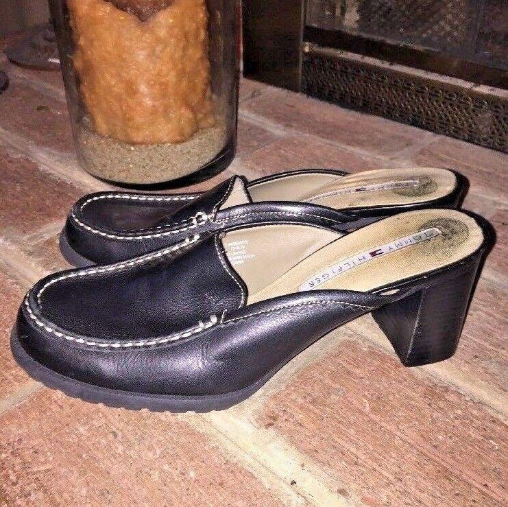 Tommy Hilfiger Genuine Black Mules Leather Mules Black High Heels Clogs Shoes Women's SZ 8 6ed624