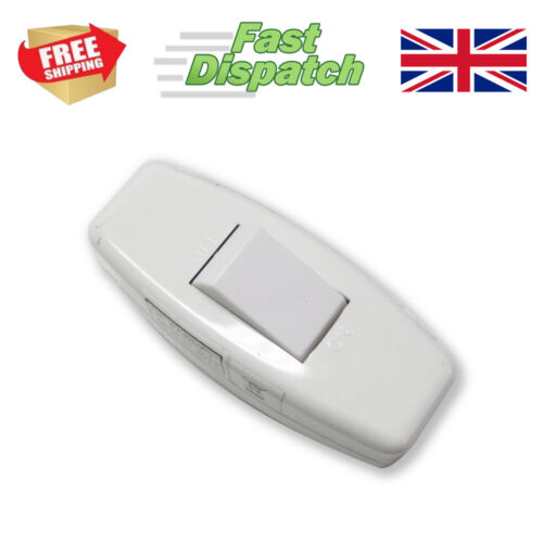 inline mains light switch suitable for table lamp radio stereo 240v 6amp WHITE