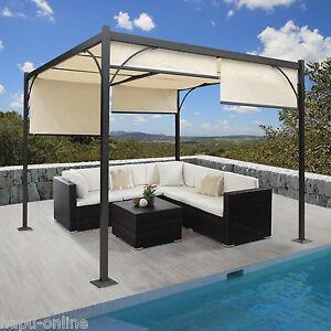 alu 3x3 m pavillon garten markise sonnenschutz terrassen berdachung sonnensegel ebay. Black Bedroom Furniture Sets. Home Design Ideas