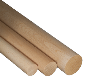 10x Rundstab Buche 1000 mm Holzdübel Buchenrundstäbe glatt Dübelstange Holzstab