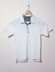 Oakley-Mens-Size-M-Medium-Hydrolix-White-Grey-Golf-Short-sleeve-Polo-Shirt