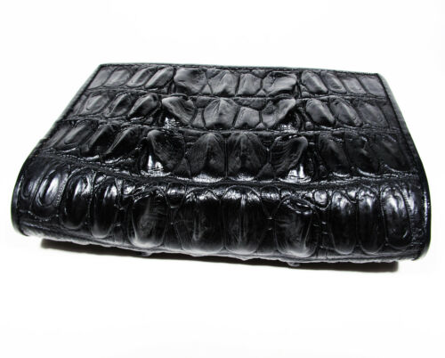 New Black Genuine Leather Crocodile Alligator Tail Unisex Passport Holder Wallet