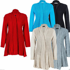 New-Women-Ladies-Girls-Plus-Size-Knitted-Waterfall-Boyfriend-Long-Cardigan-8-26