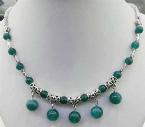 6-10mm Lapis Lazuli //Apatite Gems Round Beads Tibet Silver Pendants Necklace AAA