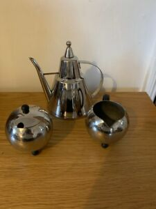 Vintage Mid Century Stainless Steel Contemporary Coffee Set - Fabulous!!!
