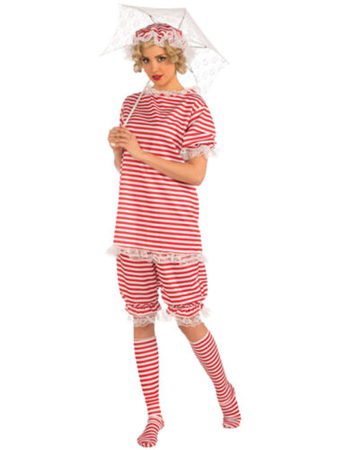Ladies 20s 30s Bathing Beachside Bettie Swim Suit Swimming Fancy Dress Costume