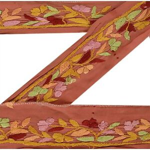 Good Vintage Sari Border Antique Hand Embroidered Indian Trim Ribbon Peach Lace Trim & Edging