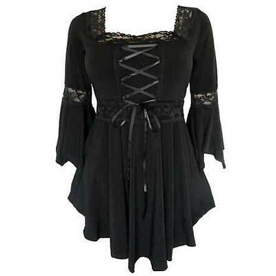 Women's Sexy Goth Punk Tops Blouse Flared Sleeve Lace-up Loose T-Shirt Plus Size