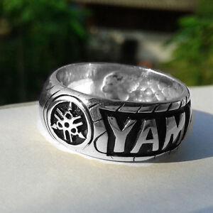 YAMAHA-LOGO-Band-Men-039-s-Ring-STERLING-SILVER-Motorcycle-Motocross-Music-Piano