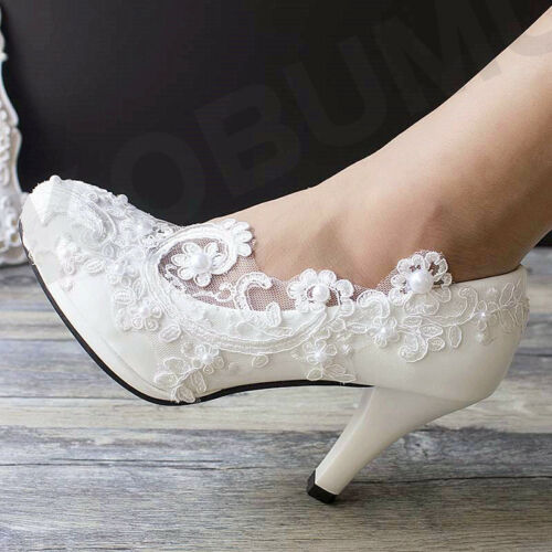 Wedding Lace Ivory White Prom Bridal Bridesmaid Flat High Low Heel shoes size3-9