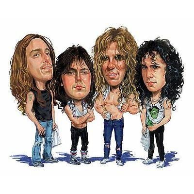 Metallica - Band Master Of Puppets Caricature 80's Heavy Metal Sticker or Magnet