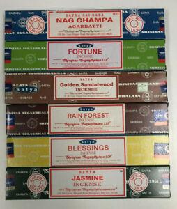 Satya Nag Champa Incense Sticks Assorted Sampler 3 Bulk Lot Of 6 15 G Boxes Ebay