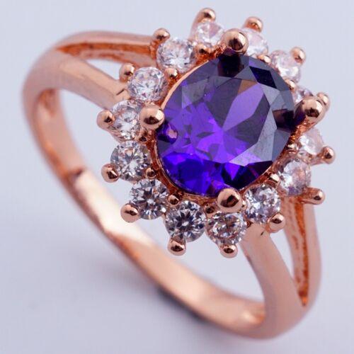 Magnifique bijoux pour montre Plaqué Or Rose Violet Cubic Zircon Ring Taille 9