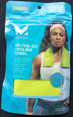"""3 Mission ON-THE-GO Cooling Towels~ Green 8/"""" x 30/""""~Machine Washable~Reusable"""