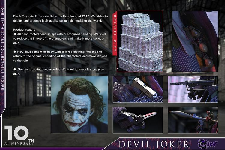 Negro Juguetes 1 6 Diablo Jocker 10th Anniver PVC BT101 BT102 acción figura Collectio