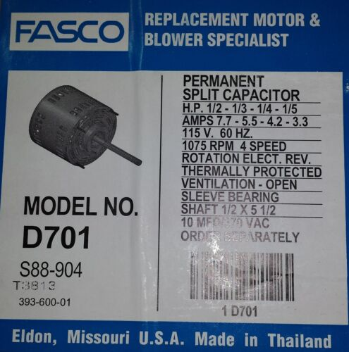 D701 FASCO FURNACE BLOWER MOTOR 1//2HP 7.7 AMP AND POC10A CAP
