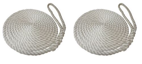 2 x 10 MTS OF 12MM WHITE SOFTLINE MOORING ROPES / WARPS / LINES BOATS