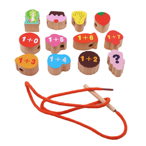 Lacing /& Stringing Wooden Beads with String Packaged Metal Box Kids Toys