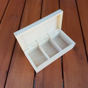 De Madera Para Té Bolsa Caja Con Tres Compartimentos, Llano De Madera Para Decoupage  </span>