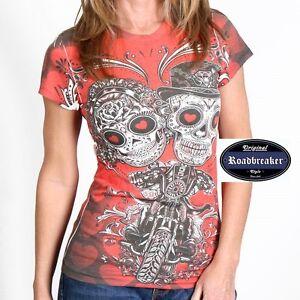 Donne-T-Shirt-rosso-HD-Chopper-Tatuaggio-Biker-Modello-Messicana-Motociclista