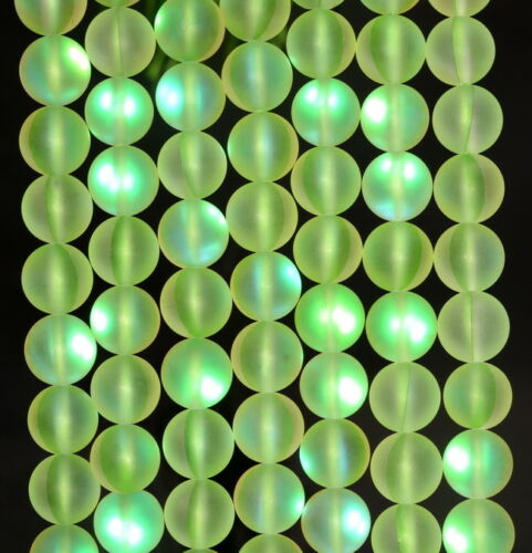 "Glass Gemstone Round Loose Beads 15/"" 6MM Green Frosted Matte Mystic Aura Quartz"