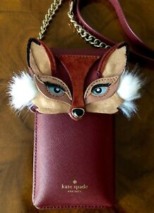 NWT-Kate-Spade-Foxy-Fox-North-South-Smart-Phone-iPhone-Wallet-Crossbody-Bag